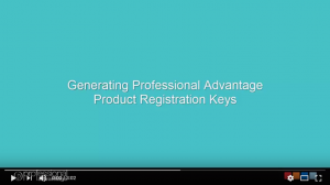 Generating Professional Advantage Product Registration Keys Video