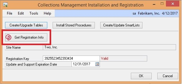 Installation and Registration Window (Collections Management)