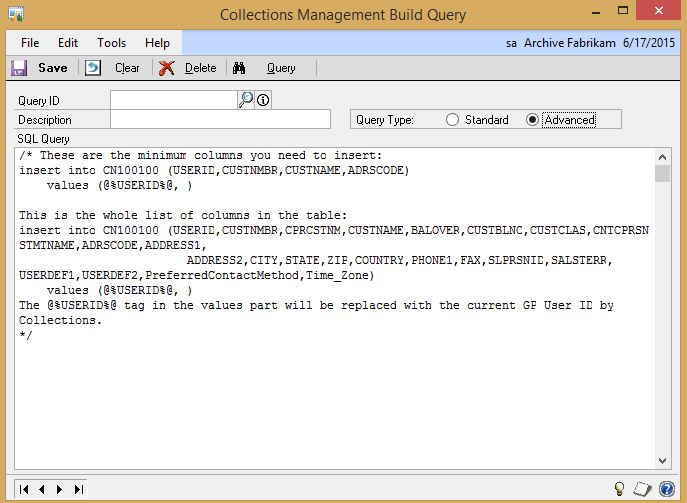 Example of the Build Query feature in the latest build of Collections Management.